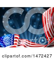 Clipart Of A Rippling American Flag Over Dark Blue Rays And Flares Royalty Free Vector Illustration by AtStockIllustration