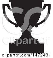 Clipart Of A Black Silhouetted Trophy Cup Royalty Free Vector Illustration by Johnny Sajem