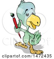Clipart Of A Parrot Holding A Paintbrush Royalty Free Vector Illustration by dero