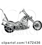 Clipart Of A Black And White Chopper Motorcycle Royalty Free Vector Illustration by dero