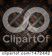 Clipart Of A 3d Black Metal Lattice Over A Brick Wall Royalty Free Illustration by KJ Pargeter