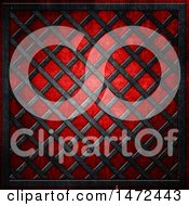 Clipart Of A Metal Lattice Texture Over Red Royalty Free Illustration