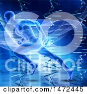 Clipart Of A 3d Male Athlete Sprinting Over Dna Strands Royalty Free Illustration by KJ Pargeter