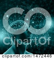 Clipart Of A 3d Man With Visible Brain And Glowing Dots Royalty Free Illustration