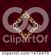 Golden Diamond Floral Frame Over A Deep Red Pattern