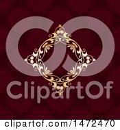 Poster, Art Print Of Golden Diamond Floral Frame Over A Deep Red Pattern
