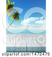 Poster, Art Print Of 3d Wood Surface Against A Tropical Ocean