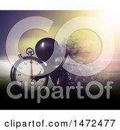Clipart Of A 3d Black Man Runner Taking Off On Starting Blocks By A Giant Stop Watch Royalty Free Illustration by KJ Pargeter