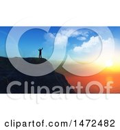 Clipart Of A 3d Man Sanding On An Ocean Cliff Edge At Sunset Royalty Free Illustration by KJ Pargeter