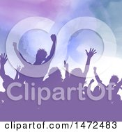 Clipart Of A Purple Watercolor Crowd Of Silhouetted Concert Or Party People Royalty Free Vector Illustration