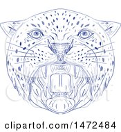 Clipart Of A Sketched Angry Big Cat Head Roaring Royalty Free Vector Illustration
