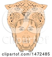 Clipart Of A Sketched Female Aztec Warrior Wearing Jaguar Headdress Royalty Free Vector Illustration by patrimonio