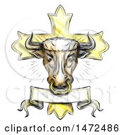 Tattoo Styled Bull Head On A Cross On A White Background