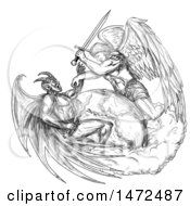 Poster, Art Print Of Tatoo Sketch Of Saint Michael The Archangel Angel Fighting With A Demon Over Earth On A White Background