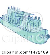 Flat Bottomed Barge With Gin Bottles