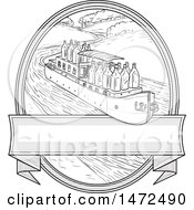 Flat Bottomed Barge With Gin Bottles Over A Banner In An Oval