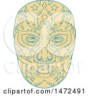 Clipart Of A Sketched Mexican Luchador Wrestler Mask Royalty Free Vector Illustration by patrimonio