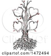 Clipart Of A Tattoo Sketch Of A Tree With Heart Branches On A White Background Royalty Free Illustration by patrimonio