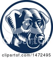 Clipart Of A Woodcut Labrador Retriever Dog Face In A Navy Blue And White Circle Royalty Free Vector Illustration