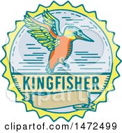 Clipart Of A Kingfisher Bird Over A Banenr In A Circle Royalty Free Vector Illustration