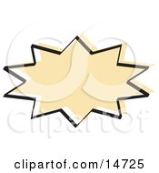 Tan Starburst With A Black Outline Clipart Illustration