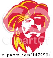 Clipart Of A Retro Captain Pirate Face Royalty Free Vector Illustration by patrimonio