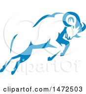 Clipart Of A Charging Blue Ram In Retro Style Royalty Free Vector Illustration