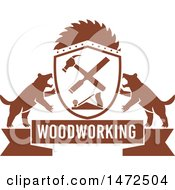 Clipart Of A Woodworking Banner With Tasmanian Devils And Carpenter Tools Royalty Free Vector Illustration