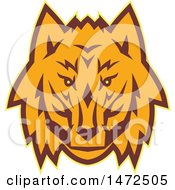 Clipart Of A Retro Wolf Face Royalty Free Vector Illustration