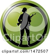 Clipart Of A Silhouetted Soldier In A Green And Black Circle Royalty Free Vector Illustration
