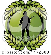 Poster, Art Print Of Silhouetted Soldier In A Green Circle With Leaves