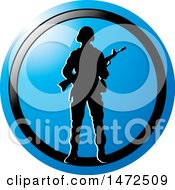 Clipart Of A Silhouetted Soldier In A Blue And Black Circle Royalty Free Vector Illustration