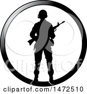 Clipart Of A Silhouetted Soldier In A Black Circle Royalty Free Vector Illustration