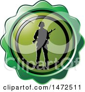 Clipart Of A Silhouetted Soldier In A Green Seal Circle Royalty Free Vector Illustration