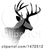 Clipart Of A Profiled Buck Deer In Halftone Dots Royalty Free Vector Illustration by Lal Perera