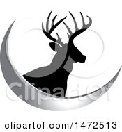 Clipart Of A Silhouetted Buck Deer Stag And A Silver Swoosh Royalty Free Vector Illustration by Lal Perera