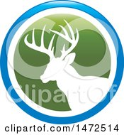 Clipart Of A Silhouetted Buck Deer Stag In A Green White And Blue Circle Royalty Free Vector Illustration by Lal Perera