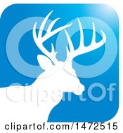 Clipart Of A Silhouetted Buck Deer Stag In A Blue Square Icon Royalty Free Vector Illustration by Lal Perera