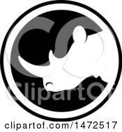 Clipart Of A Black And White Rhinoceros Mascot Icon Royalty Free Vector Illustration by Lal Perera