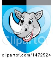 Clipart Of A Rhinoceros Mascot Face In A Shield Royalty Free Vector Illustration by Lal Perera