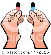 Clipart Of Hands Holding Pill Capsules Royalty Free Vector Illustration