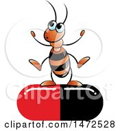Clipart Of A Cartoon Ant On A Red And Black Pill Capsule Royalty Free Vector Illustration
