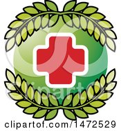 Clipart Of A Medical Cross In A Green Circle With Leaves Royalty Free Vector Illustration