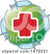 Clipart Of A Medical Cross In A Green Circle With Syringes Royalty Free Vector Illustration by Lal Perera