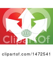 Clipart Of An Abstract Arrow Leaf And Globe Design Royalty Free Vector Illustration by Lal Perera