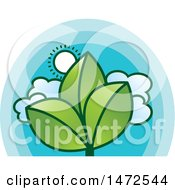 Clipart Of A Sunny Sky And Green Leaves Design Royalty Free Vector Illustration