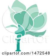 Green Letter I Flower Design
