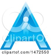 Clipart Of A Blue Letter A Icon With A Person Royalty Free Vector Illustration by Lal Perera