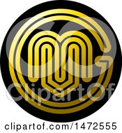 Clipart Of A Round Abstract Letter M And V Icon Royalty Free Vector Illustration