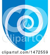 Clipart Of A Blue Spiral Shield Royalty Free Vector Illustration by Lal Perera
